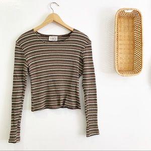 Vintage 1990s Long Sleeve Striped Crop Top